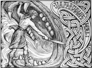Vidar scheurt de bek van Fenrir open tijdens Ragnarok