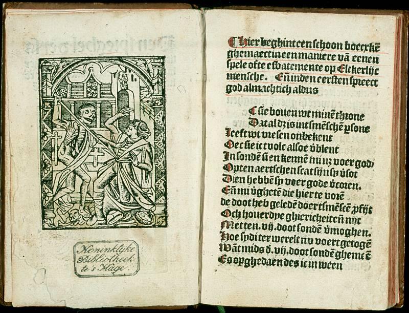 Houtsnede van Elckerlijc uit 1500