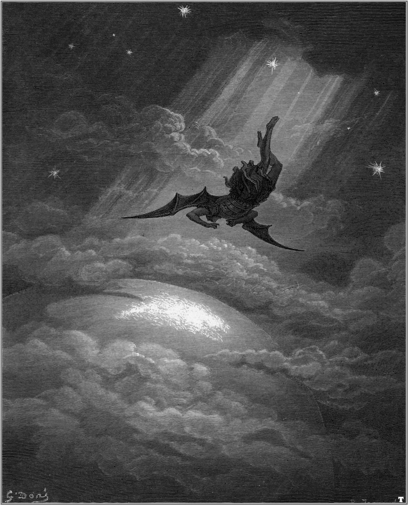 De val van Lucifer, de duivel