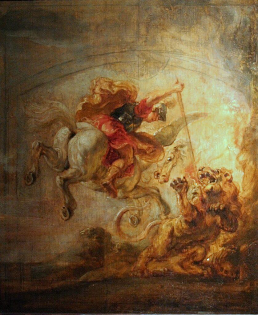 Bellerophon op Pegasus doodt de Chimaera