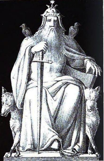 Odin met wolven en raven