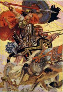 Cú Chulainn trekt ten strijde tegen Medb vanwege de runderroof