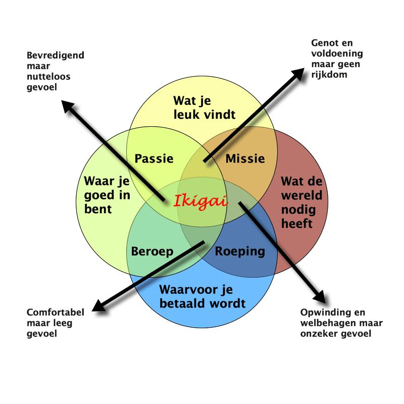 Waar je ikigai vindt: in het midden van je passie, roeping, missie en beroep