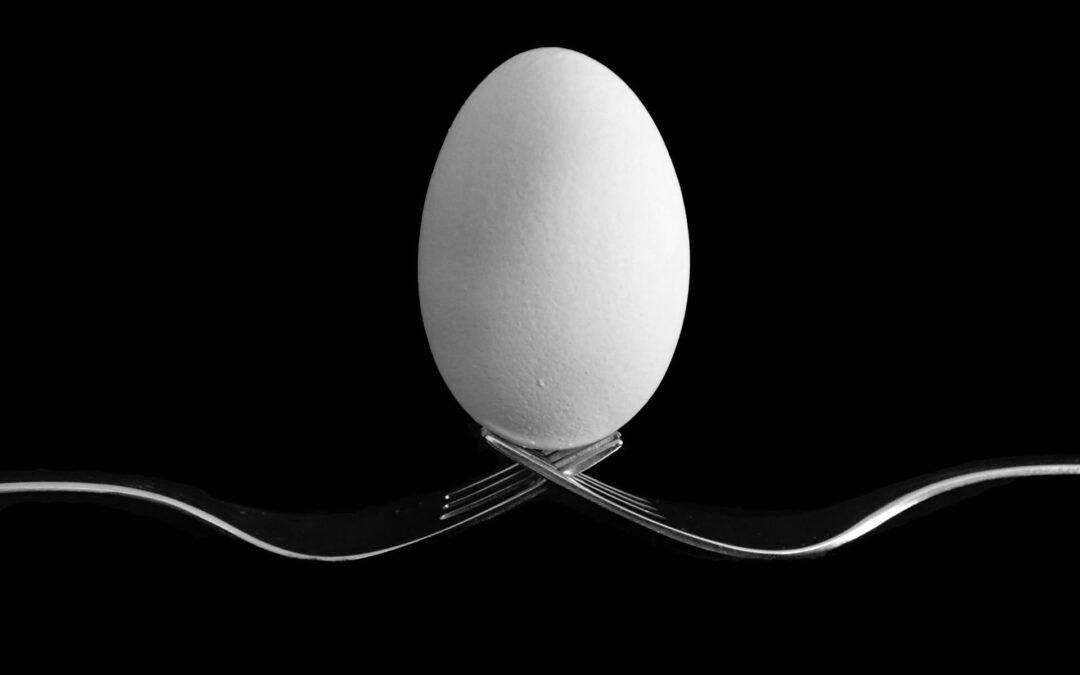 Een ei balancerend op twee vorken
